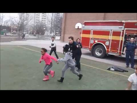 Running drills with Fire Fighters