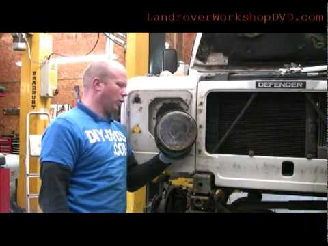 Part2 Landrover defender 200tdi front wing removal and headlight
