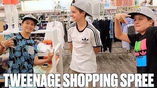 TWEEN NO BUDGET CLOTHES SHOPPING SPREE AND TRY ON HAUL WITH TWIN TEENS BROCK AND BOSTON