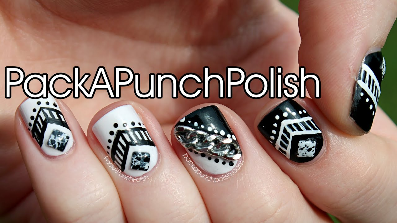 Blackwhite tribal studs chains nail art tutorial youtube prinsesfo Image collections