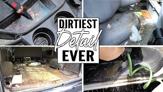 Cleaning The Dirtiest Car Interior Ever! Complete Disaster Full Interior Car Detailing Work Truck