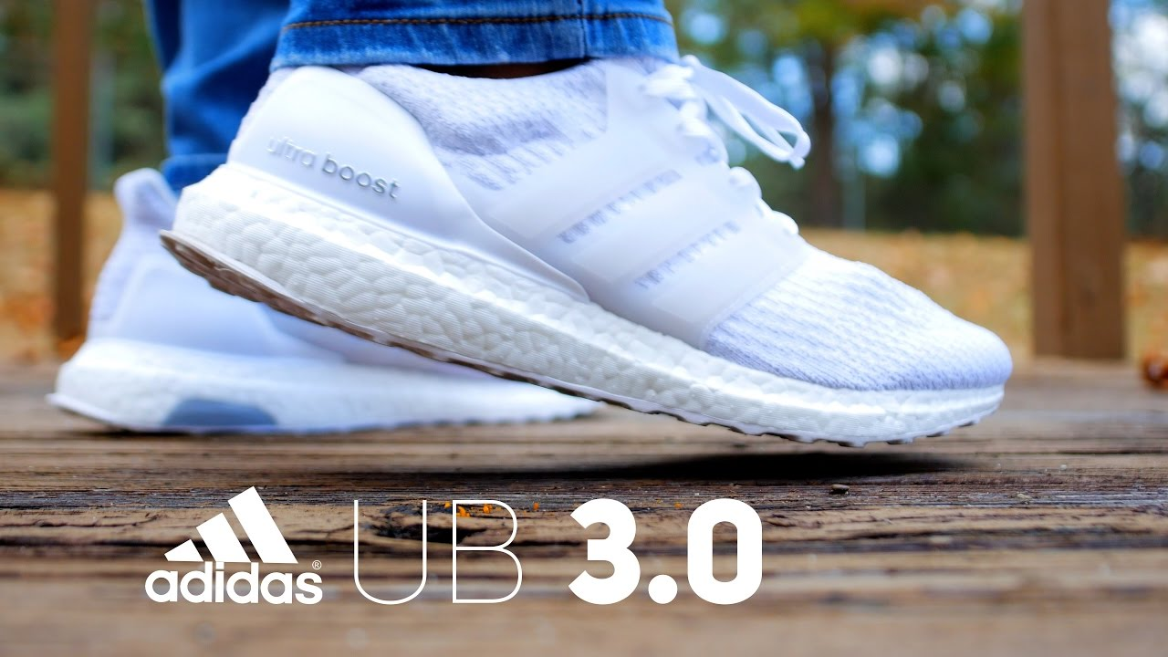 Adidas Ultra boost 3.0 triple White unboxing Review on feet