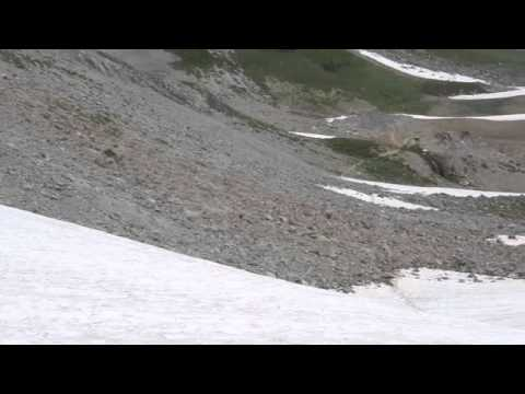 Mt Rainier Wonderland Trail - Glissading on Panhandle Gap - Aug2012