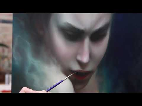 Painting with oil colors, Epoxy resin & Fire