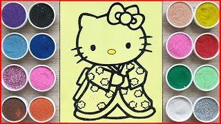 Đồ chơi trẻ em, tô màu tranh cát Kitty mặc kimono Nhật - Hello kitty sand painting toys (Chim Xinh)