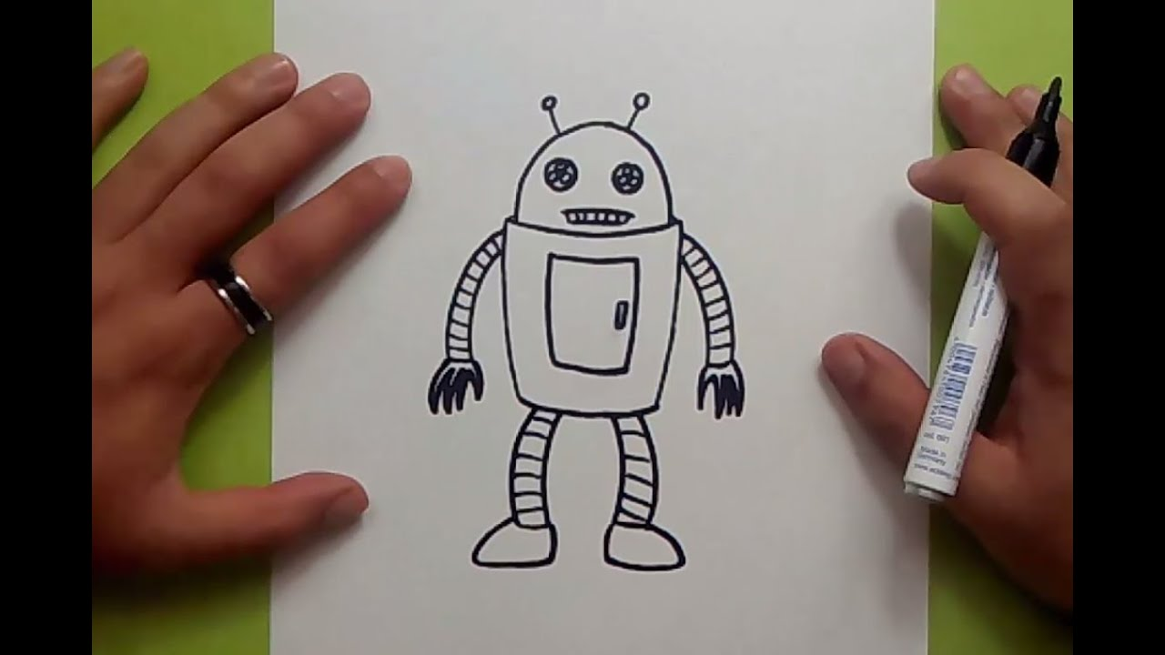 Como dibujar un robot paso a paso 8  How to draw a robot 8  YouTube