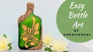 Bottle Art (Using DIY Stencil)/ Bottle Decoration/Wine Bottle art/Bottle Craft/art and craft