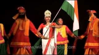 Dance troupe from Punjab performs an Indian patriotic dance