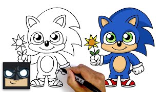How To Draw Baby Sonic | Sonic The Hedgehog