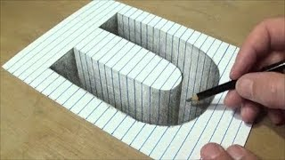 Drawing U Hole in Line Paper - 3D Trick Art - Vamos