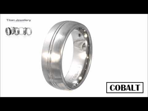 Men's 8mm Brushed Cobalt Ring with Polished Line CCR26