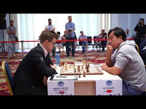 Final moments of Magnus Carlsen losing against Bu Xiangzhi at Fide World Cup 2017