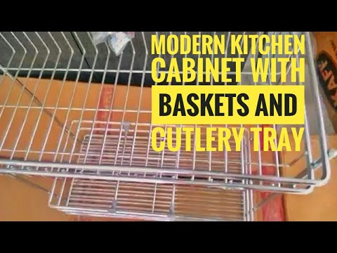 Modular kitchen cabinet with baskets and fitments |Cutlery tray and baskets for modular kitchen |