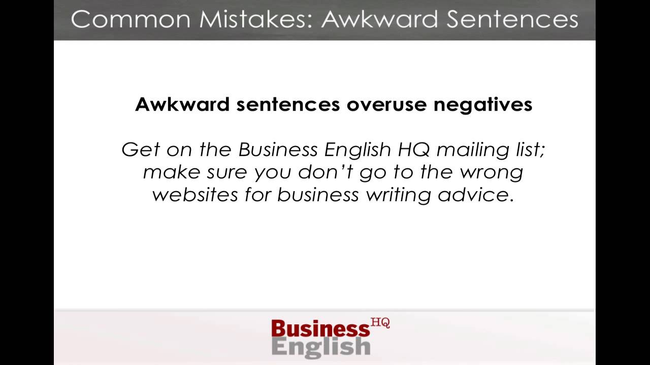 common errors in writing sentences