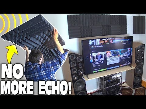 How To Install Acoustic Foam Panels w/ NO ECHO | Home Theater Sound Treatment Setup BEFORE and AFTER