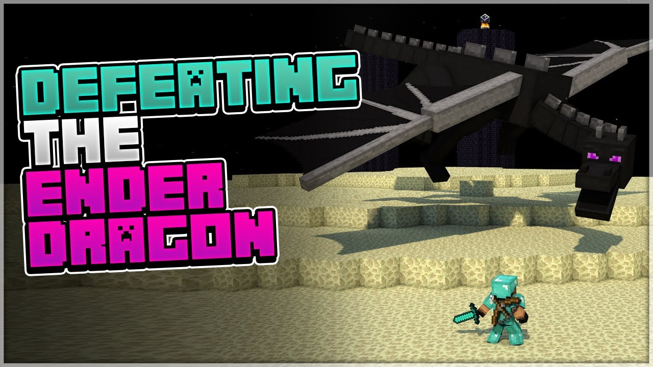 Defeating the Ender Dragon in Minecraft!