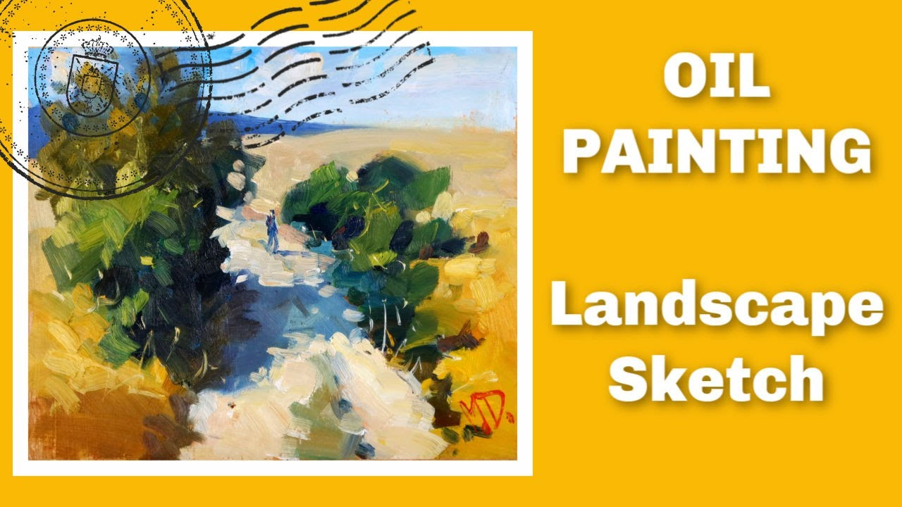 Oil Painting of a Country Road (Landscape Sketch) 🎨🌻