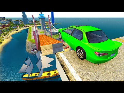 Open Bridge Jumping Car Crashes #5 BeamNG drive