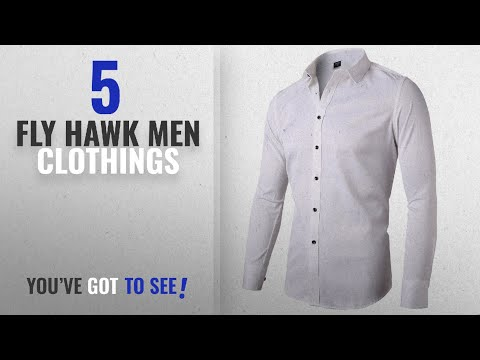 Top 10 Fly Hawk Men Clothings [ Winter 2018 ]: Mens Fiber Casual Button Up Slim Fit Collared Formal