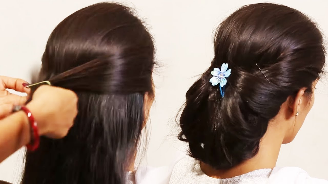 Simple Hairstyle Beautiful Front Puff With Fishtail Braid Girls Hair Style Youtube