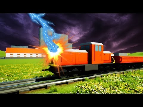 Lightning Strikes the BRICK RIGS TRAIN! - Brick Rigs Gameplay - Lego Train Crashes and Destruction!
