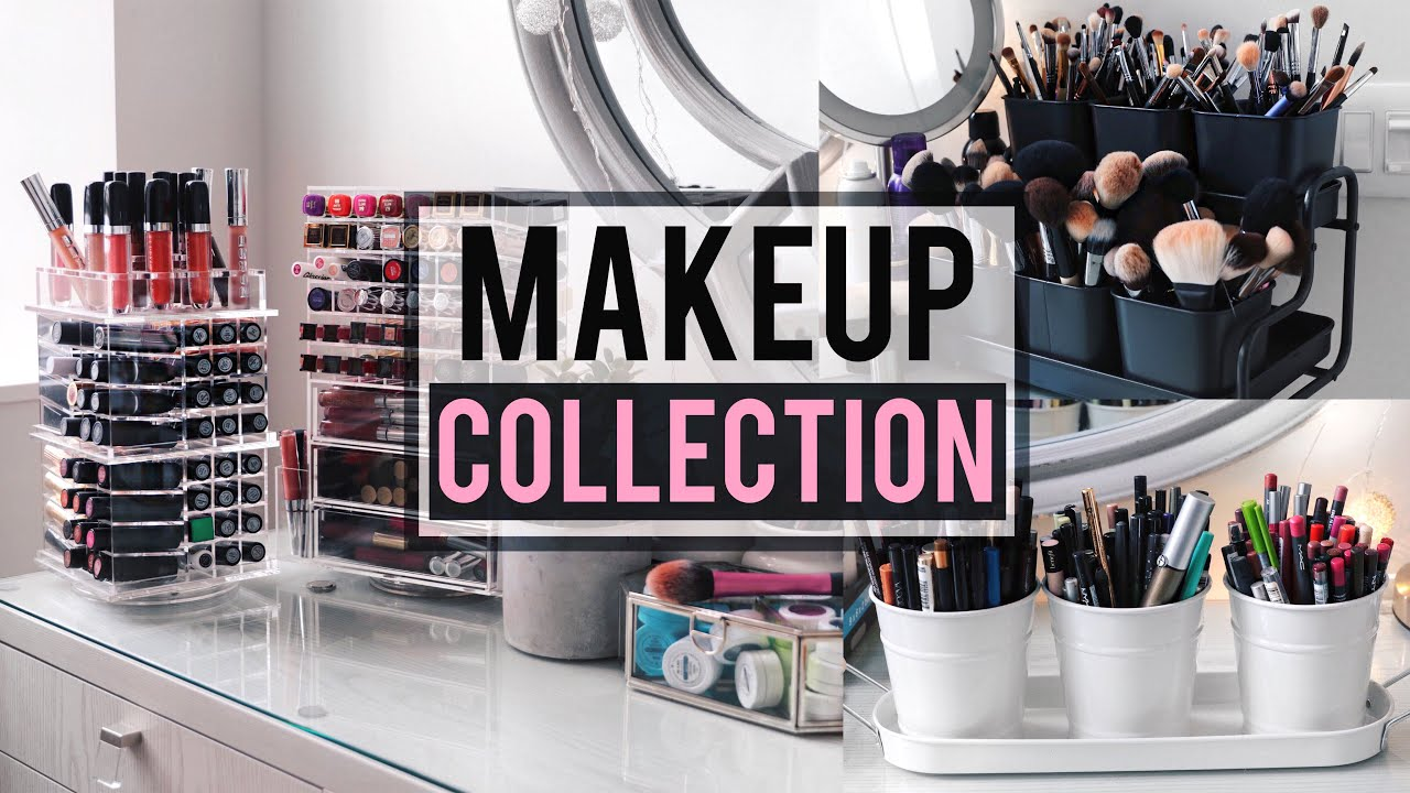 MAKEUP COLLECTION + STORAGE/ORGANIZATION IDEAS ! | JamiePaigeBeauty    YouTube