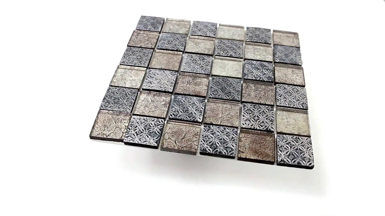 glas naturstein resin mosaik fliesen silber mix youtube. Black Bedroom Furniture Sets. Home Design Ideas