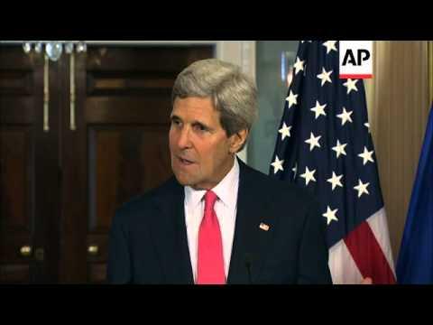 Secretary of State John Kerry and European Union High Commissioner Catherine Ashton meet to discuss