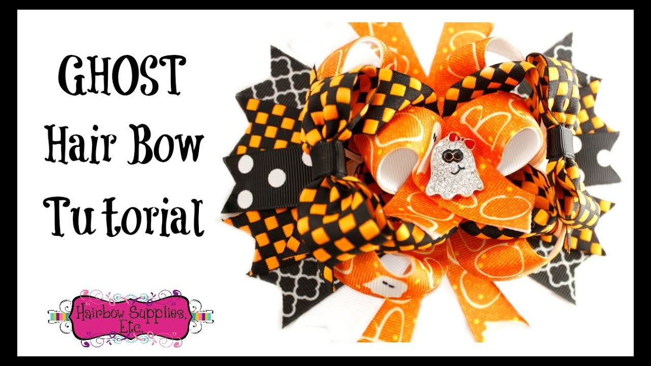 how to make a ghost hair bow - halloween hair accessories - hairbow