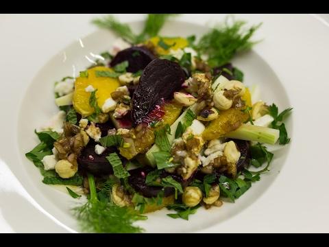Roasted Beet Fennel Feta and Mint Salad