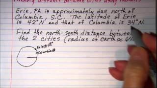 Finding distance between cities using radians