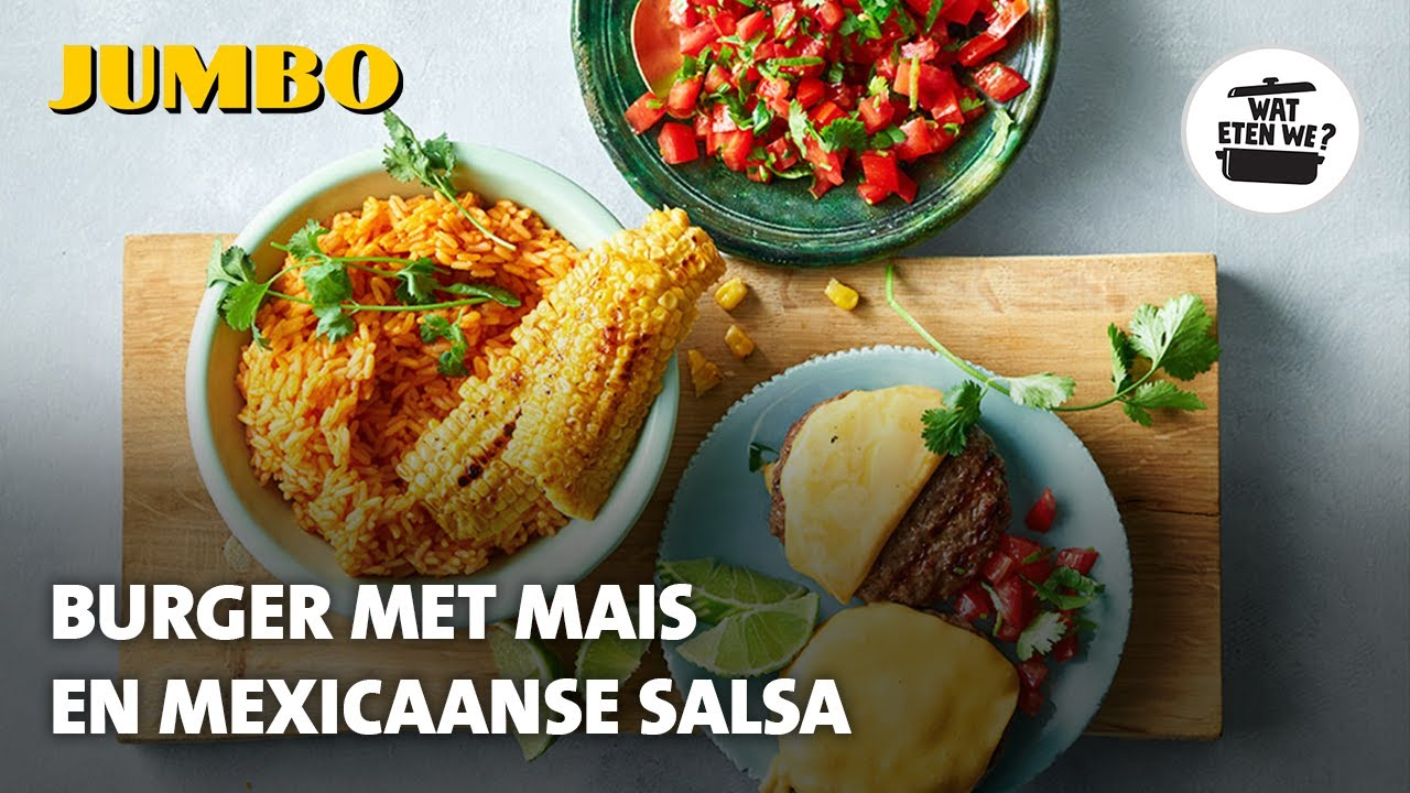 Wat eten we? Burger met mais en Mexicaanse salsa