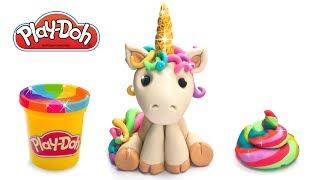 How to make Unicorn Toy out of Play Doh or Clay. DIY Tutorial for Beginners . Crafts for Kids