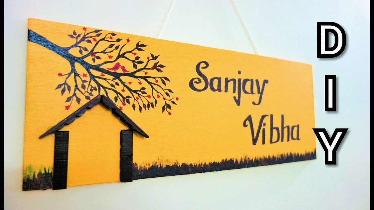 Diy Awesome And Unique Home Made Name Plate Best Out Of Waste