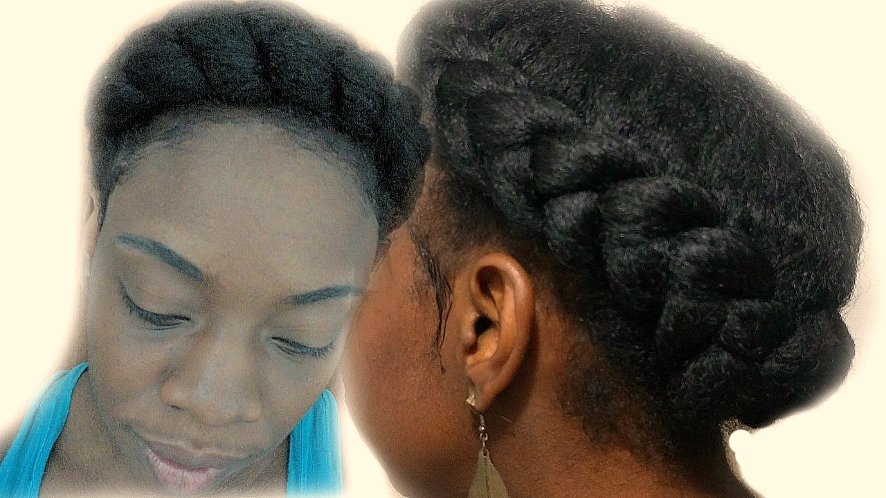 How To Goddess Braid on Natural Hair Halo/Crown Braid No Extensions Protective Style YouTube