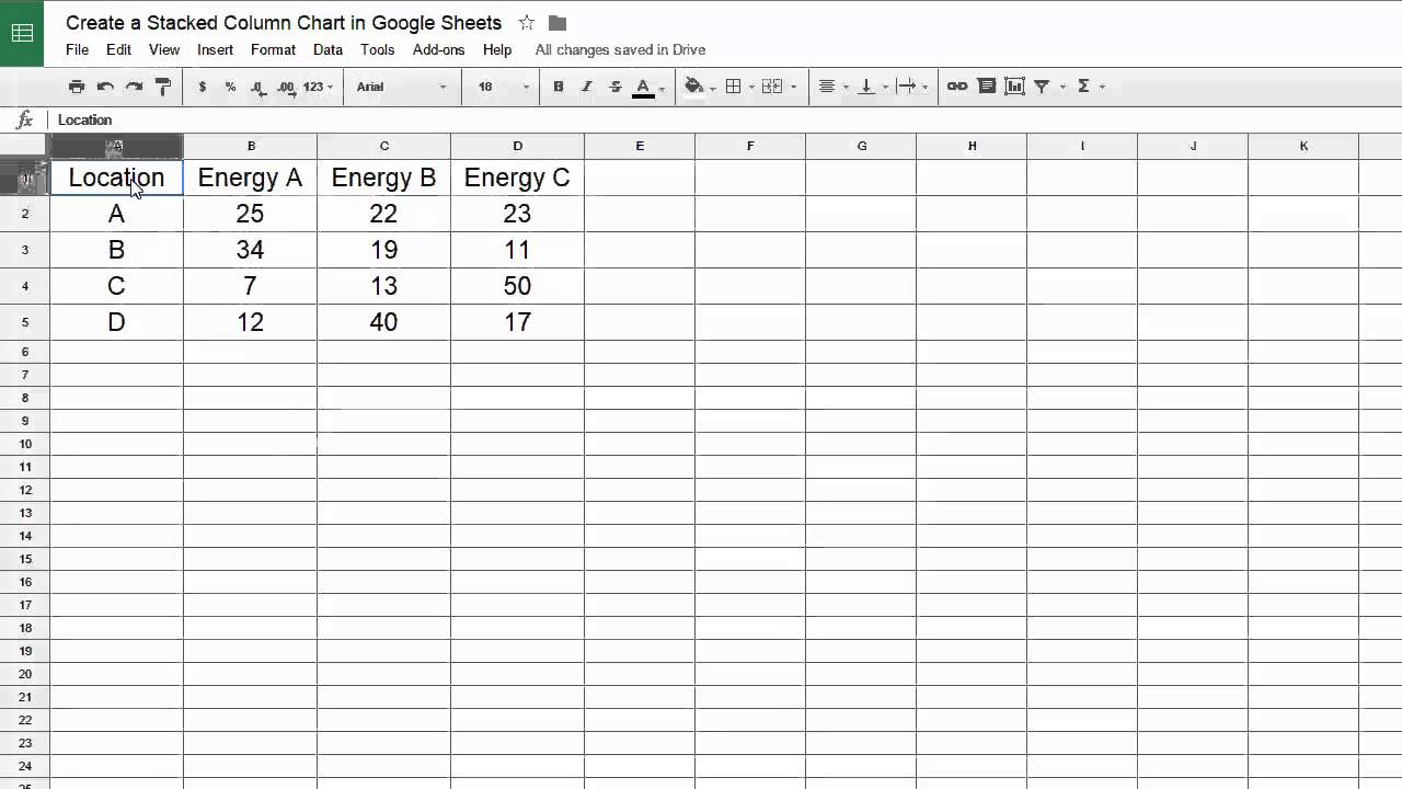 Google Sheets - Create a Stacked Column Chart - YouTube