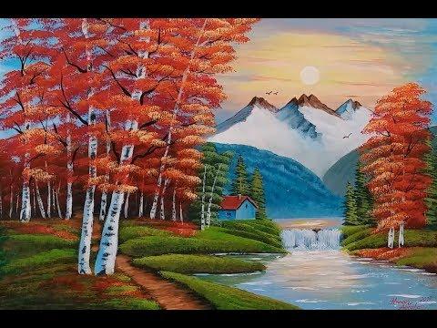 Akrilik ile MANZARA Resmi Nasıl Yapılır – 3 | Acrylic Landscape Painting Techniques | Tutorials