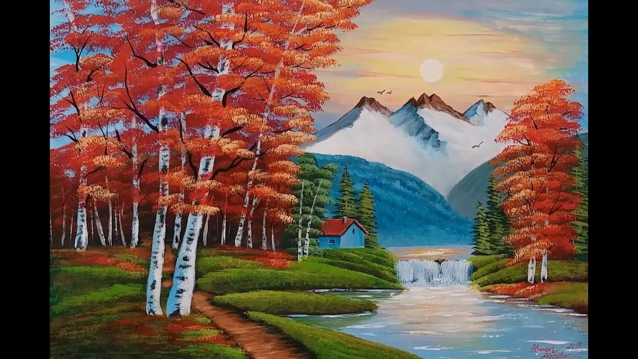 Akrilik Ile Manzara Resmi Nasil Yapilir 3 Acrylic Landscape