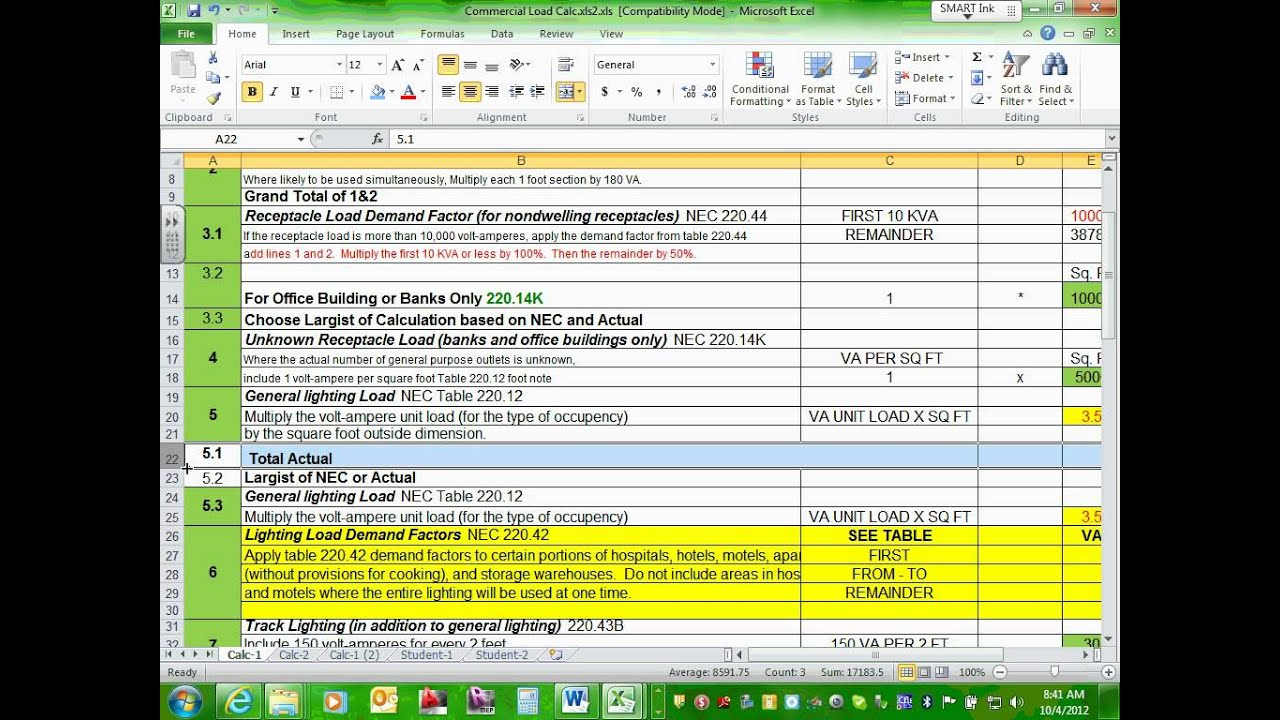 Electrical Commercial Project Calculation Excel File 10 04 12