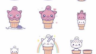 Kitty Cones New Animated iMessage Stickers