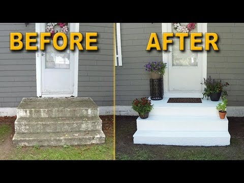 Front Stair Transformation Washing Painting Concrete