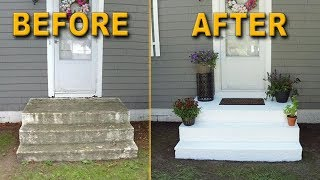 Front Stair Transformation | Power Washing & Painting Concrete Stairs