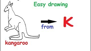 How to draw a 'kangaroo' from Alphabet small letter 'k'