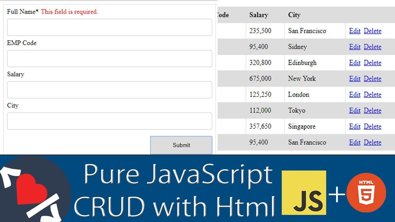 Pure JavaScript CRUD Operations with Html