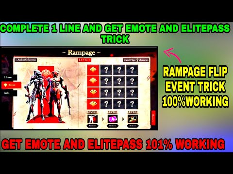 Free Fire Rampage Flip Event Trick To Complete Line & Get Free ElitePass & Emote 101% Working