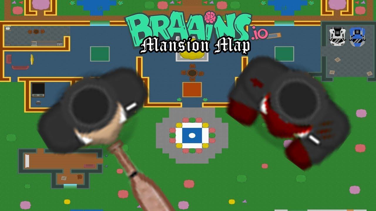 BRAAINS.IO NEW MANSION MAP! MANSION MAP GAMEPLAY + HIDING SPOTS! // Braains.io / Modd.io