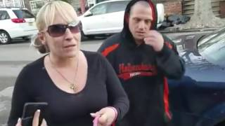 MAN FORCES WOMAN TO PICK UP HER DOGS POOP FROM HIS YARD !