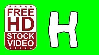 Gratuit Stock de Vidéos d'animation pour la lettre H dans le style cartoon en mouvement sur un écran vert d'animation 2D