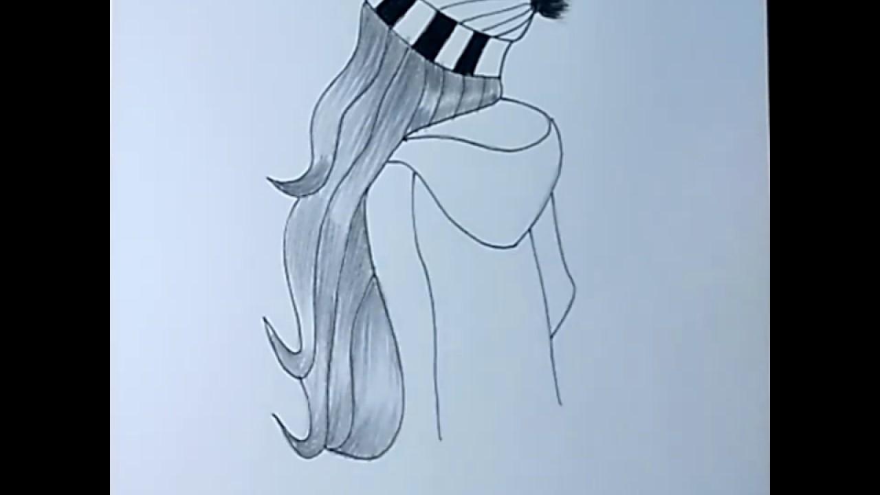 رسم سهل تعليم الرسم للبنات طريقة سهلة لرسم فتاة مستديرة ترتدى