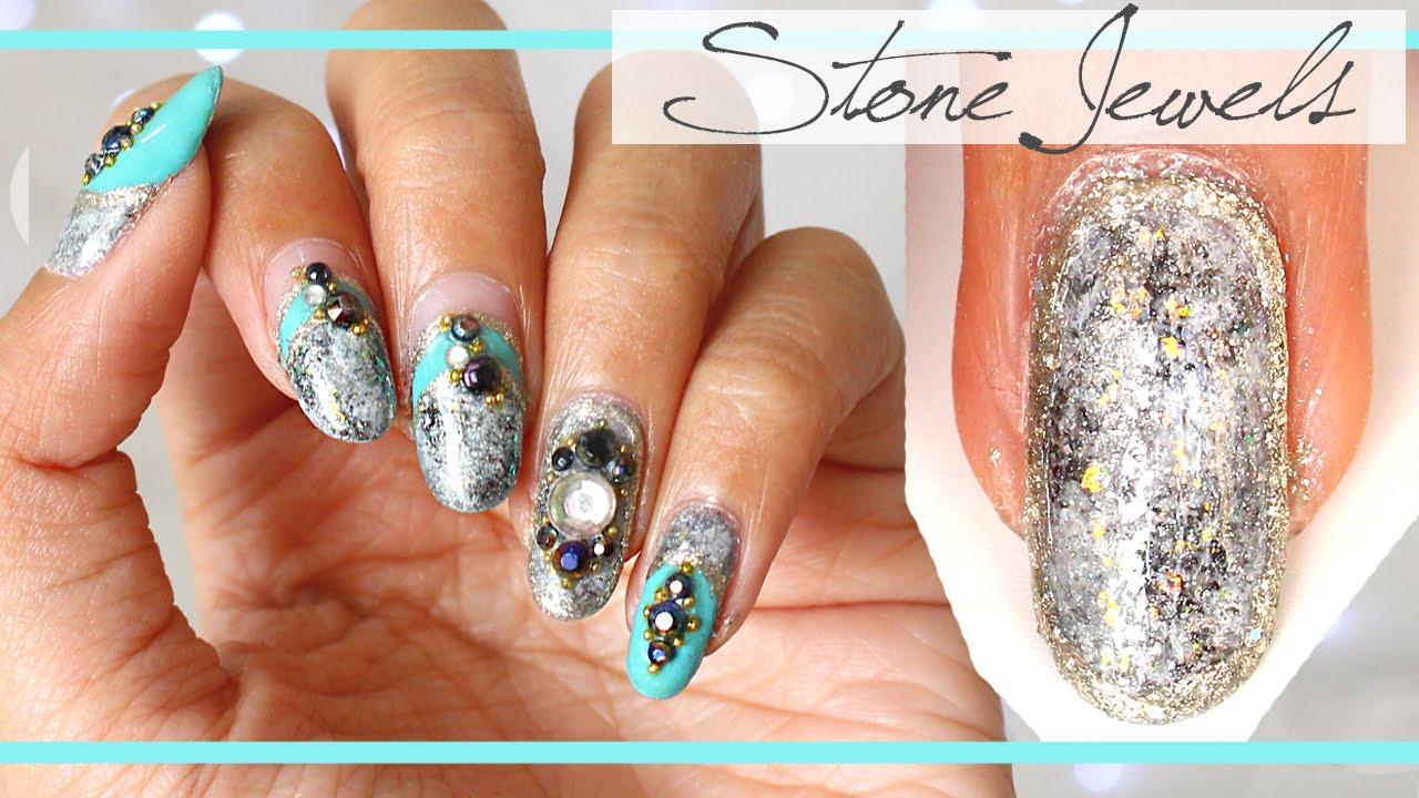 Stone Jewels Nail Art Bejeweled Granite Textured Tutorial Gyaru You
